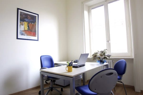 """""""Chagall"""" office Size: 10 sq. mts. Workstations: 1 Description: quiet and comfortable office. Very bright and sunny especially in the morning"""